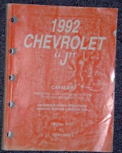 1992 Chevrolet CAvalier J Body Parts & illustrations book