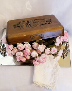 Vintage Solid Carved Wood Chinese Jewelry Box Chest