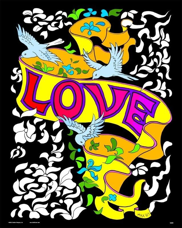 Love Banner - Large 16x20 Inch Fuzzy Velvet Coloring Poster