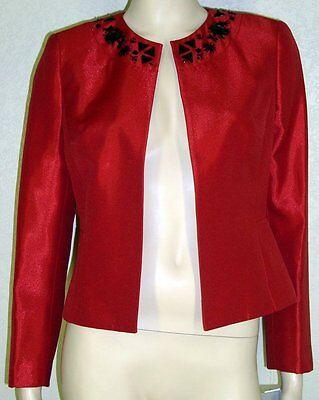 Kasper Petites NWT Szs 2P 8P Fire Red Bead Trim Shantung Jacket Blazer 7104