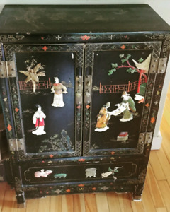 Chinese Antique Lacquer Cabinet with Inlaid Stone and ivory