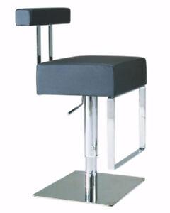 100% Italian leather black hydraulic adjustable bar stools