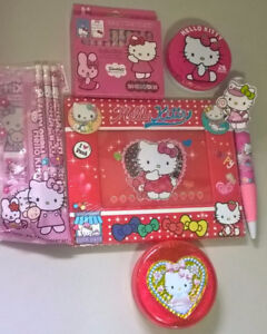 Hello Kitty Picture Frame,Brush & Comb, Candy Tin, Crayons, Pen.