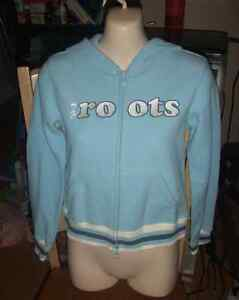 Roots Athletic Girls fleece hoodie light blue XL=12/14 New w/tag