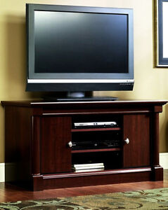 SAUDER TV STAND with SHELVING (1yr old; $199 new)