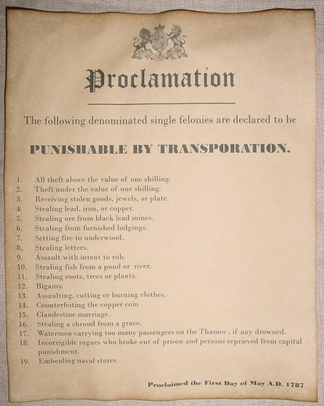 19 Crimes Punishable by Transportation to Australia, England, wanted, outlaw