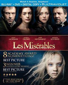 Les Miserables (Blu-ray + DVD + Digital Copy + UltraViolet) New
