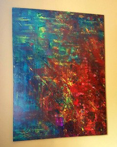 36x48, mixed media on canvas (large painting, 3 ft. By 4ft.)