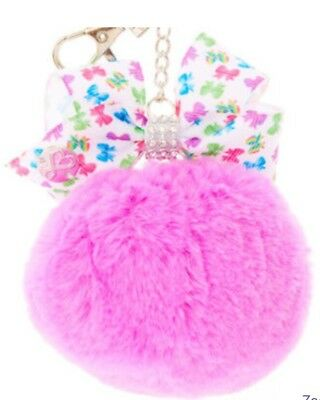 New JoJo Siwa Purple Pom Pom Keychain Bow Plush Key Ring Clip Key Chain Backpack