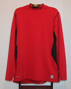 NIKE PRO COMBAT FITTED MOCK TURTLENECK RED SIZE XXL