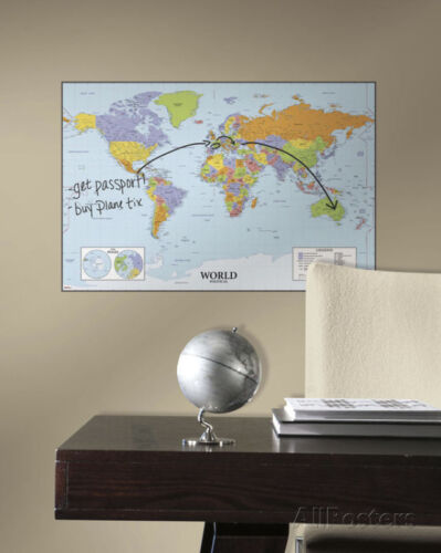 World Map Dry Erase Peel & Stick Giant Wall Decal Sticker - 27x40