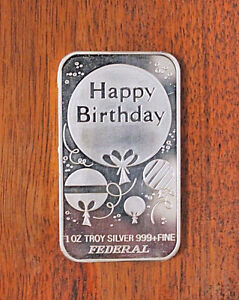 1 OZ 999 Fine Silver Happy Birthday Bar