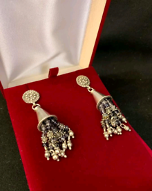 Silver and bead drop earrings