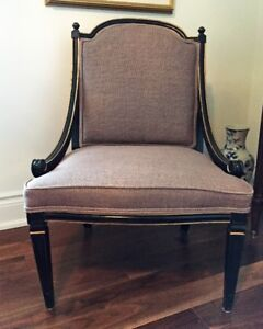 Beautiful Vintage Linen and Wood Arm Chair