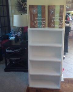 White shelves for storage