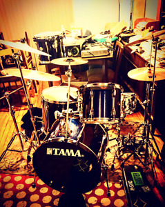 Tama drums with cymbals and double kick pedal