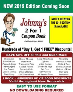Johnny's 2 for 1 Coupon books for 2019!