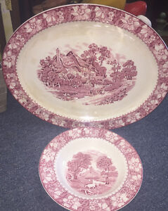 VINTAGE COLONIAL WOODS BURSLEM ENGLAND DISHES DISPLAY ONLY PINK