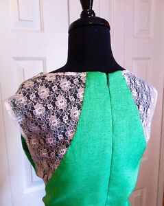 Green Dress with Lace Detail on Back