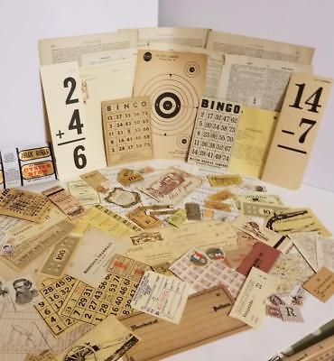 75 pc vintage ephemera paper variety box lot tickets stamps tan neutral pieces R