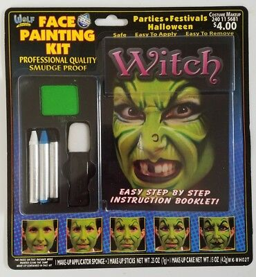 Wolf Novelties Witch Face Painting Makeup Kit Halloween w/ Instruction Booklet