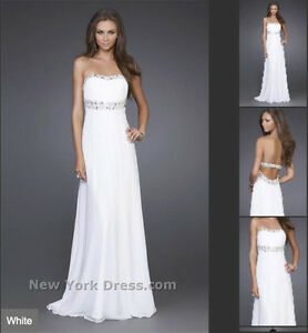 Size 4 La Femme sequinned white prom dress/wedding dress/gown