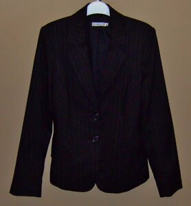 WOMEN'S BLACK JACKET WITH GREY PINSTRIPING