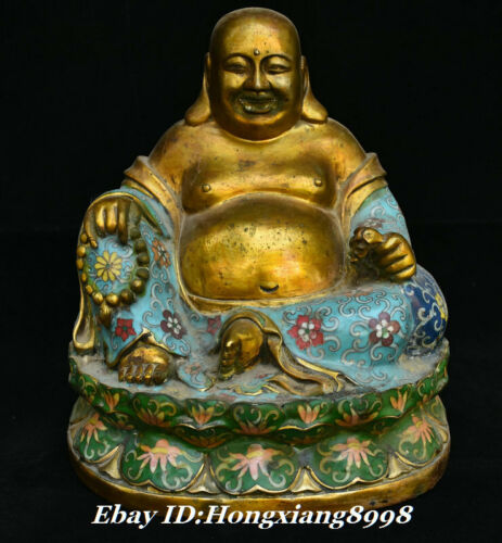 "11""Old China Temple Copper Cloisonne Enamel Happy Laugh Maitreya Buddha Statue"