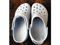 New pale blue 8-10 CROCS original style shoes can send