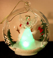 Glass Angel Christmas Ornament - Hand painted & Lighted!