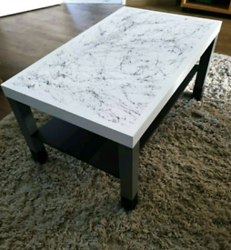 Coffee Table Hand Painted with Marble Effect