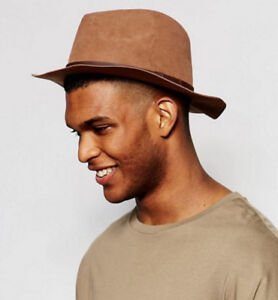 New Asos Faux Suede Brown Fedora Hat newsboy trilby cap beret