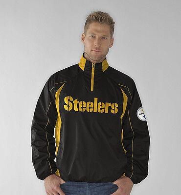 GIII Pittsburgh Steelers MEDIUM Mens PRE GAME Quarter-Zip Pullover Jacket Fan Apparel & Souvenirs