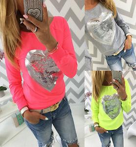 Mujer-Lentejuelas-Corazon-Camiseta-manga-larga-con-cuello-redondo-informal-blusa