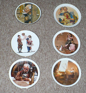 Six Norman Rockwell Collector Plates Hand Made and Dated