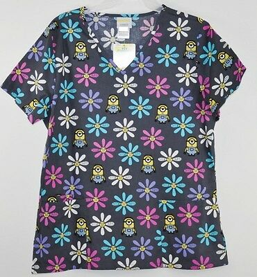 Despicable me Minions Scrub Top Size XL gray floral V-neck pockets new with tags](Minion Scrub Top)