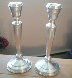 """Seranco EPNS silver plate 2 candle holders - 11.75"""" tall"""