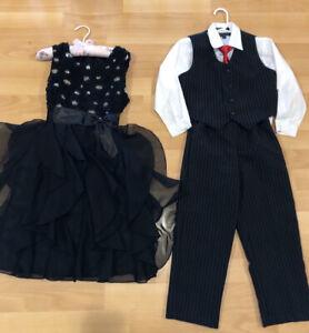 Flower girl black dress / ring bearer black suit, both for $40