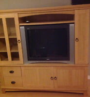 Sauder Deluxe entertainement Center with lots of storage