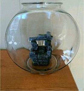 1 gallon glass fish bowl with decoration