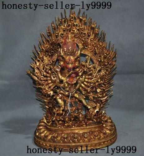 "14""old Tibet Buddhism Temple Bronze 24k Gold Gilt Vajravarahi Kalachakra Buddha"