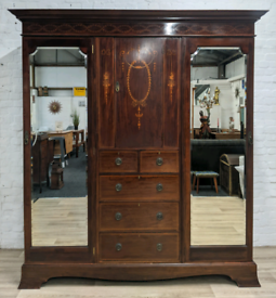 Edwardian Inlaid Triple Wardrobe (DELIVERY AVAILABLE)
