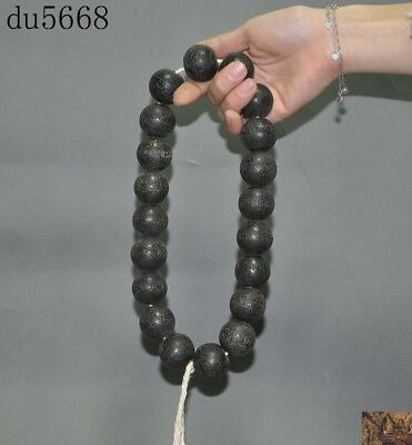 Tibetan Buddhist Hand Carved Cow Skull Head Wood Prayer Beads Mala Protection Healing Amulet Necklace