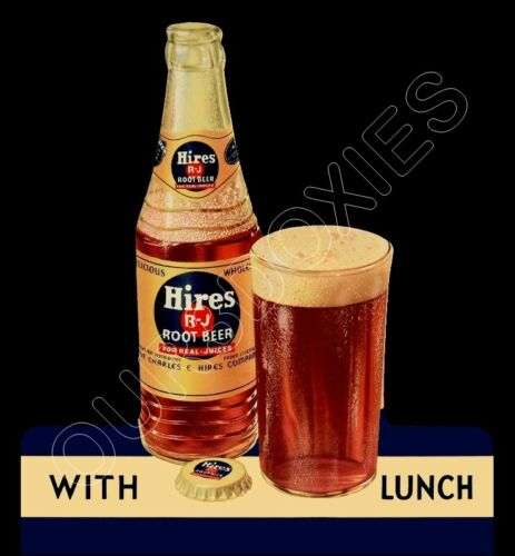 1935 Hires Root Beer Die Cut Store Counter Standup Sign Bottle With Lunch Repro