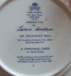 "1979 Aynsley Christmas Plate ""Mr Fezziwigs Ball"" Christmas Carol Kitchener / Waterloo Kitchener Area image 3"