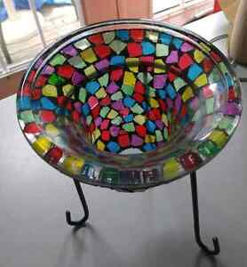 Stained Glass Decorative Bowl with Stand