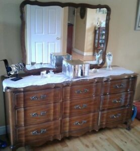 French provincial triple dresser, mirror and 5 drawer highboy.