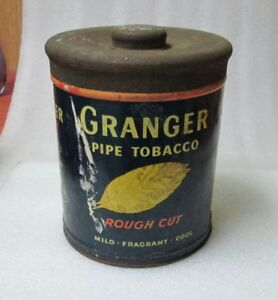ANTIQUE GRANGER ROUGH CUT PIPE TOBACCO TIN! NICE TIN Advertising