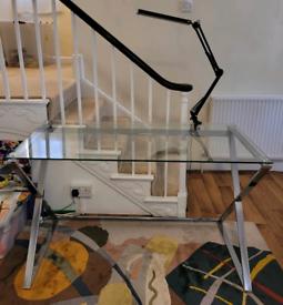 Glass top desk W120 x D60 cm