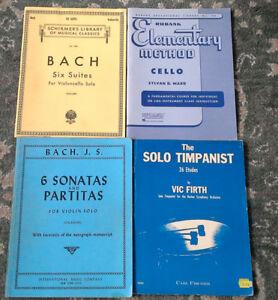 Cello, violin and timpani music books